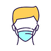 Faceless man in breathing medical respiratory mask color line icon. Health care. Flu, virus, epidemic prevention. Pictogram for web page, mobile app, promo.