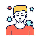 Infectious diseases, colds, flu, cough line color icon. Allergy symptom. Pictogram for web page, mobile app, promo. UI UX GUI design element. Editable stroke.