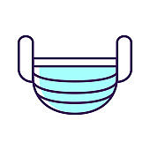 Breathing medical respiratory mask color line icon. Health care. Hospital or pollution protect face masking. Pictogram for web page, mobile app, promo. UI UX GUI design element.