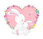 Cute cartoon, mom and kid with heart and flower frame.
