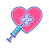Heart treatment color line icon. Cardiological diseases. Isolated vector element. Outline pictogram for web page, mobile app, promo.