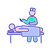 Heart surgery color line icon. Surgical emergency. Isolated vector element. Outline pictogram for web page, mobile app, promo.