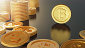 3d rendering for Bitcoin Digital Currency , gold ,One bitcoin VS stack of dollar coins ,Cryptocurrency