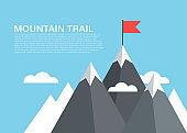Mountain with flag on top, high climbing peak vector concept of succes, reaching progress flat background