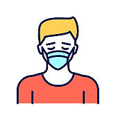 Man in breathing medical respiratory mask color line icon. Allergy. Flu, virus, epidemic prevention. Pictogram for web page, mobile app, promo.