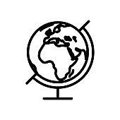 Earth globe vector geography linear icon, symbol of outline style planet map, isolated illustration