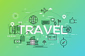 Modern infographic banner with elements in thin line style. Travel and adventure tourism industry, touristic services, navigation tools