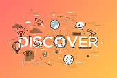 Thin line flat design banner for discover web page