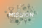 Thin line flat design banner of business mission statement