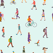 Seamless pattern background. Group of different people living in the city. Urban life. City life. Flat design concept.