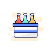 Beer Bottle Icon Style Filled Outline illustration.