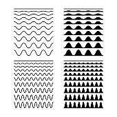 Seamless Wave and Zigzag Pattern Set on White Background. Vector illustration.