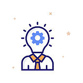Creative Think Vector illustration. Outline Filled Growth and Inveatment icon.