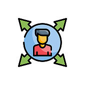 Decision Making Vector Icon Outline Filled Style Illustration.