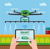 Drone smart agriculture, farmer use tablet controlling drone to spray chemical to wheat field. cartoon flat illustration vector