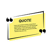 Yellow quote speech bubble template on white background. Vector illustration.