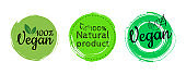 Vector round eco, bio green logo or badge. the lettering is 100% vegan. Organic design template