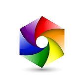 Abstract colorful pride logo icon design hexagon spiral