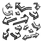 Hand drawn arrows, vector set on a white background.
