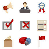 Vector Set of Elections Icons. Politics Vote Pictograms.