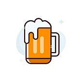 Beer Mug Vector Icon Filled Outline Style Illustration.