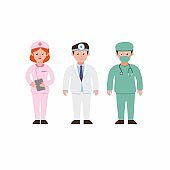 People wearing uniform for hospital job, collection set. nurse doctor and surgery suit character icon set in cartoon flat illustration vector isolated in white background