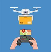 Drone carrying package delivery hand holding remote to control drone with monitor gps in cartoon flat illustration editable vector isolated in blue background