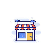 Store Outline Filled Style Icon. EPS File 10