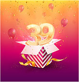39 th years anniversary vector design element. Isolated thirty nine years jubilee with gift box, balloons and confetti on a bright background.