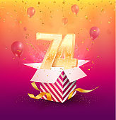 74th years anniversary vector design element. Isolated seventy-four years jubilee with gift box, balloons and confetti on a colorful background.