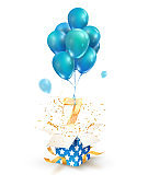 Open textured gift box with number 7 th flying on balloons. Seven years celebrations. Greeting of seventh anniversary isolated vector design elements.