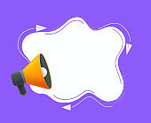 Megaphone with speech bubble vector illustration. Template for business promotion, advertising, hiring, social media marketing