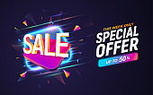 Sale discount banner on dark background. Advertising vector illustration. Discount coupon template