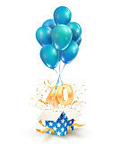 40th years celebrations. Greetings of forty anniversary isolated vector design elements. Open textured gift box with numbers and flying on balloons.