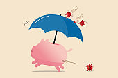COVID-19 disease protection, Coronavirus insurance or financial and investment safety in Coronavirus pandemic crisis concept, piggy bank with protection umbrella to protect from virus pathogen impact.