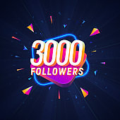 3000 followers celebration in social media vector web banner on dark background. Three thousand follows 3d Isolated design elements