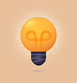Light bulb isolated vector design element with roughness. Innovation ideas illustration