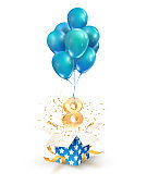 Open textured gift box with number 8 th flying on balloons. Eight years celebrations. Greeting of eighth anniversary isolated vector design elements.