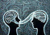 Graphic drawing dialogue between two people