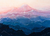 Watercolor painting pink mountain