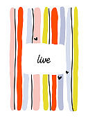 Creative design template with abstract colorful vertical lines and copy space. Bold and playful striped vector illustration. Editable stroke