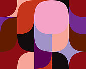Geometric multicolored pattern of simple shapes. Minimalistic abstract background. Bright print for textiles and plastic. Backdrop for web page, banner and presentation.