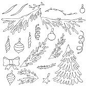 set of trees and spruce branches, simple childrens drawings, vector set of elements in doodle style