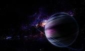 abstract space 3D illustration, 3d image, background, a bright planet in space in a nebula and the shining of stars in purple tones