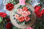 Elder Roses Buttercream Flower Cake