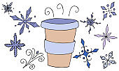 set of blue elements for winter - freehand snowflakes, a cup with hot coffee from a coffee shop, vector set of colored elements in doodle style