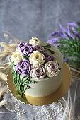 Ranunculus Bouquet Buttercream Flower Cake