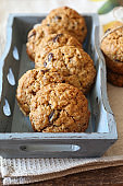 Homemade oatmeal cookies with raisins and walnuts