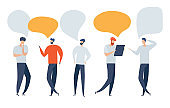 Vector illustration, flat style, businessmen discuss social network, news, social networks, chat, dialogue speech bubbles.