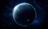 abstract space illustration, 3d image, stone planet in space among the constellations in blue radiance